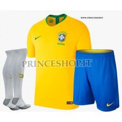 Completo Home Brasile maglia+pantaloncini+calzettoni RUSSIA 2018
