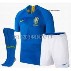 Completo Away/Trasferta Brasile maglia+pantaloncini+calzettoni RUSSIA 2018