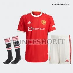 Completo Home Manchester United 2021/22 maglia+pantaloncini+calzettoni