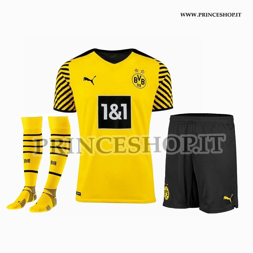 Completo Home Borussia Dortmund 2021/22 maglia+pantaloncini+calzettoni