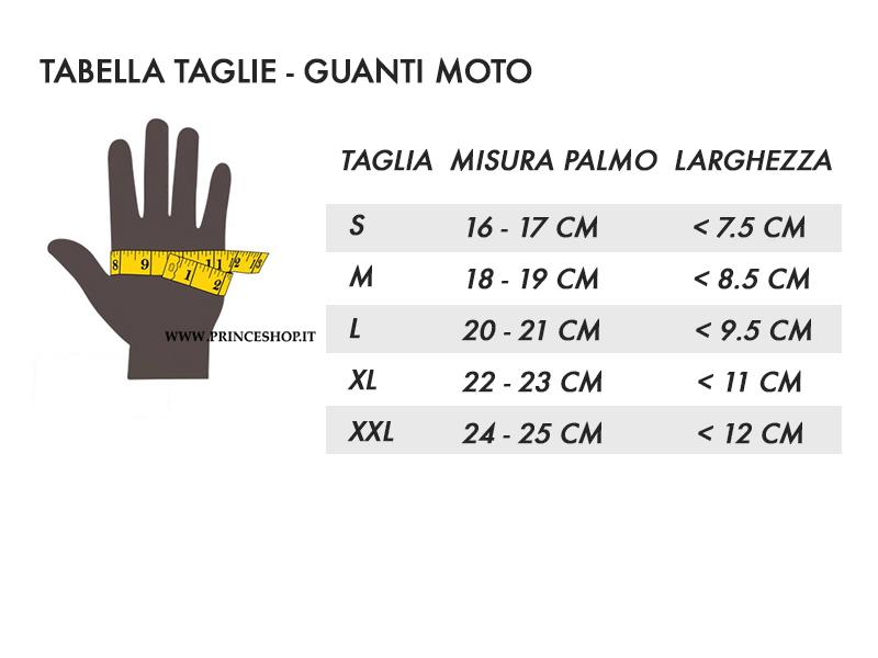 tabella taglie - guanti moto